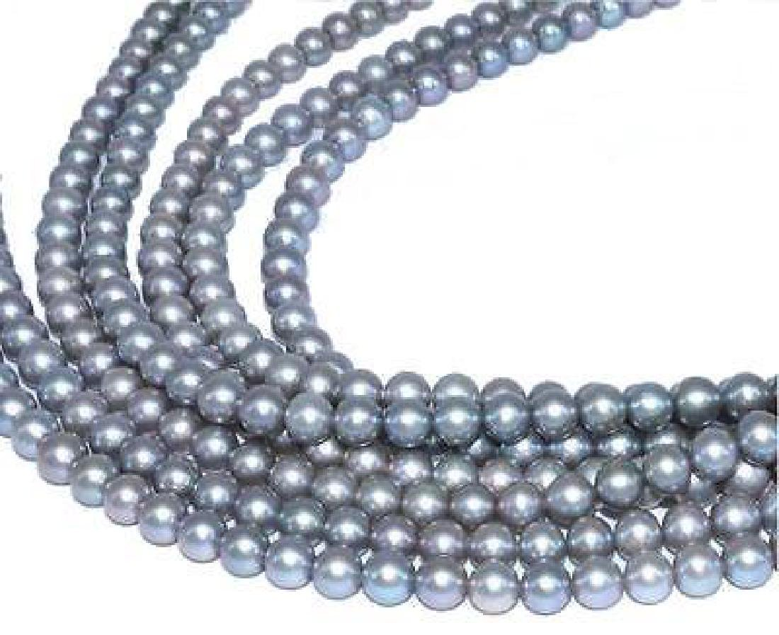 """82"""" Natural 9-10mm Aaa Gray Genuine South Sea Pearl"""