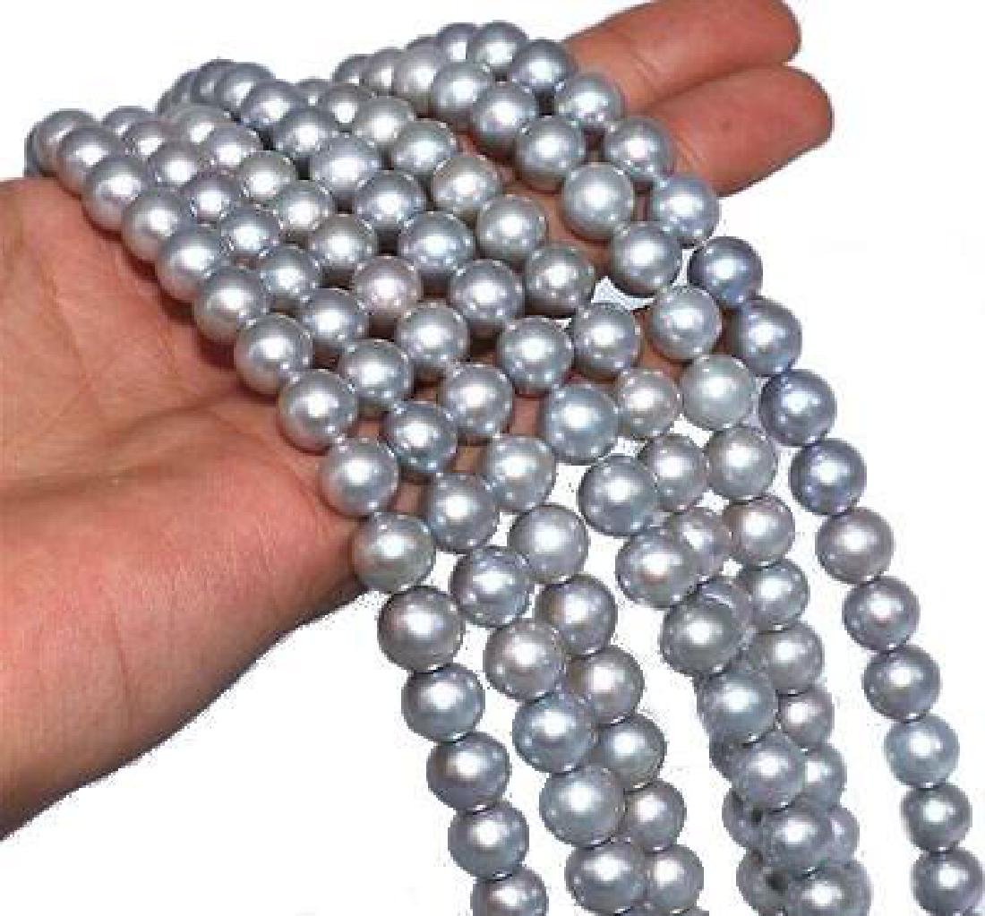 "82"" Natural 9-10mm Aaa Gray Genuine South Sea Pearl - 2"