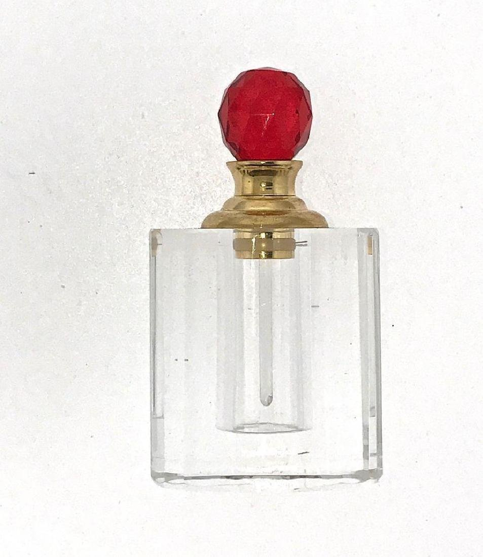 Red Crystal Perfume Bottle 8010R Faceted Cut Glass
