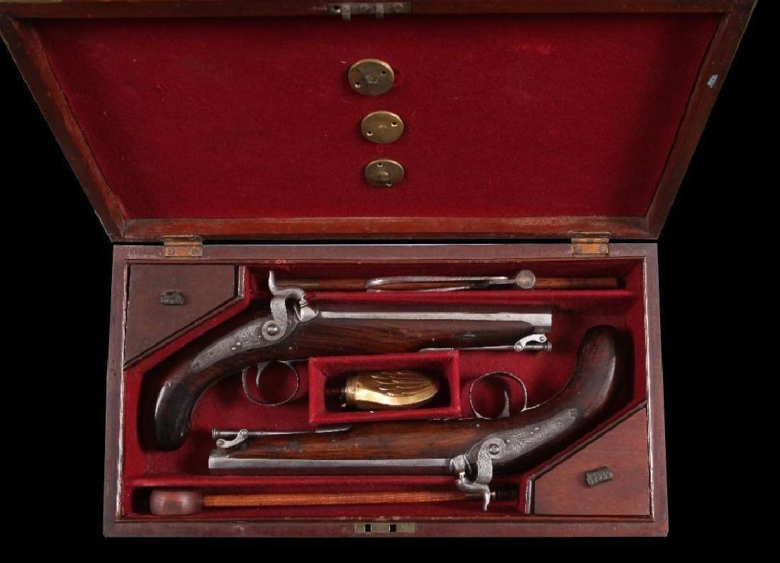 c1830 Cased Pair of Wilson Dueling Pistols