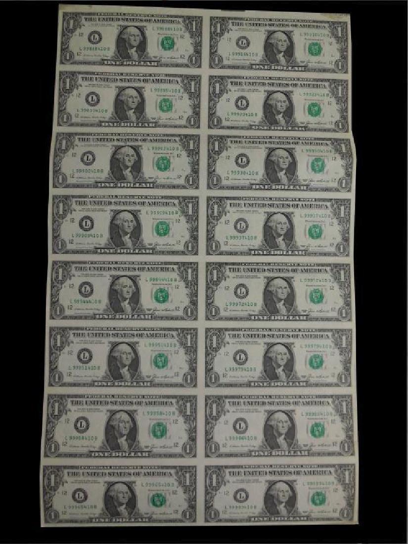 Sheet of Uncut Un-circulated 1985 $1 Bills
