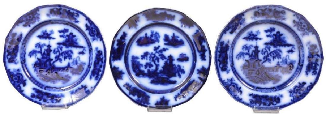 Group of 19thc Challinor Pelew Flow Blue Plates