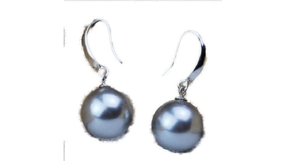 AAA + 16mm grey South Sea Shell Pearl Earrings 14K Gold