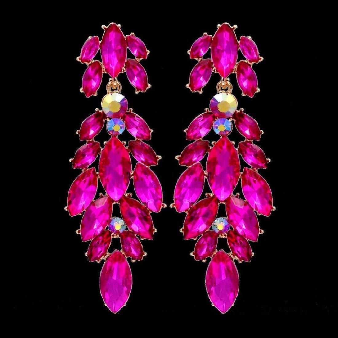18k Gold Plated Fuchsia Crystal Rhinestone Chandelier