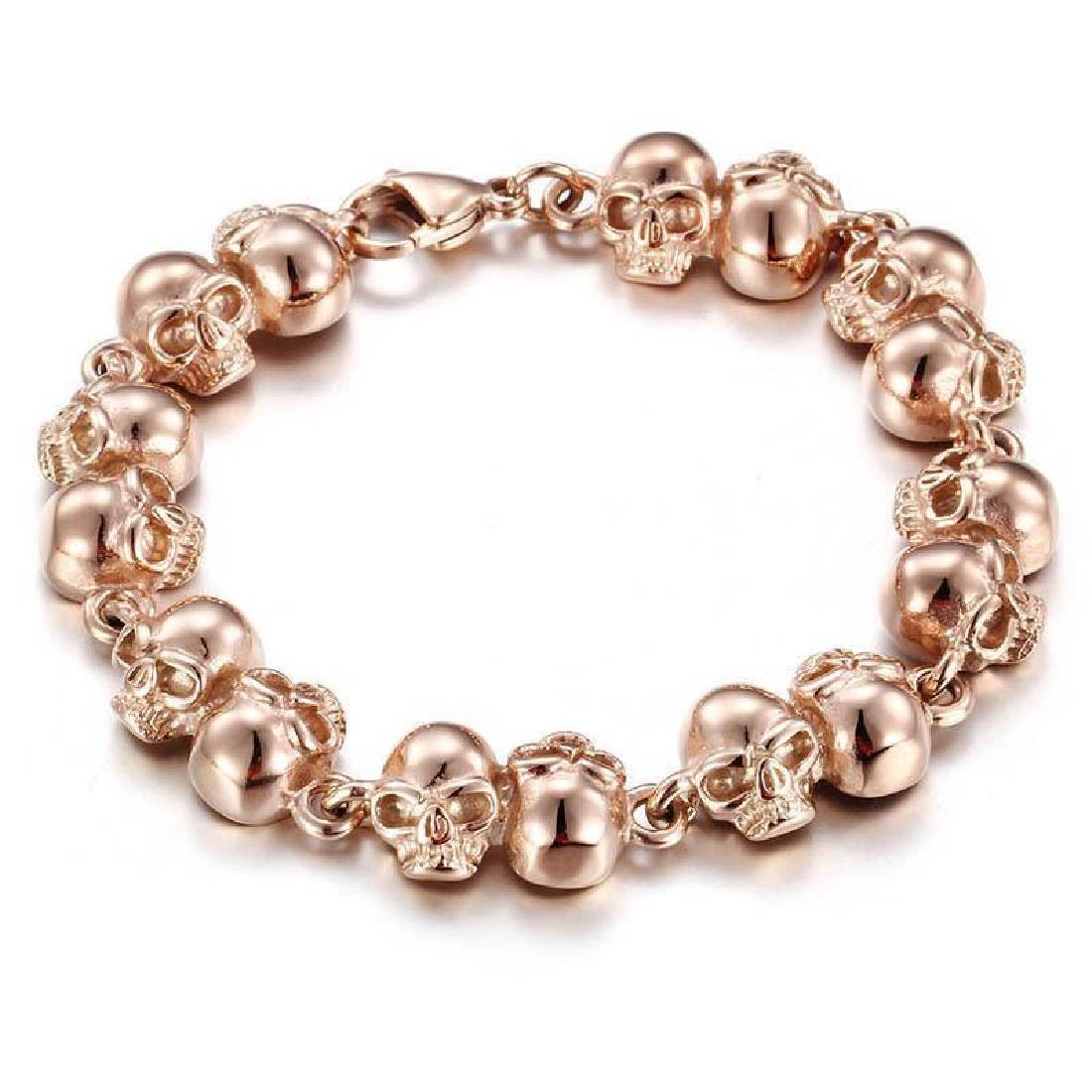 Stainless Steel Rose Gold Biker Skull skeleton Bracelet