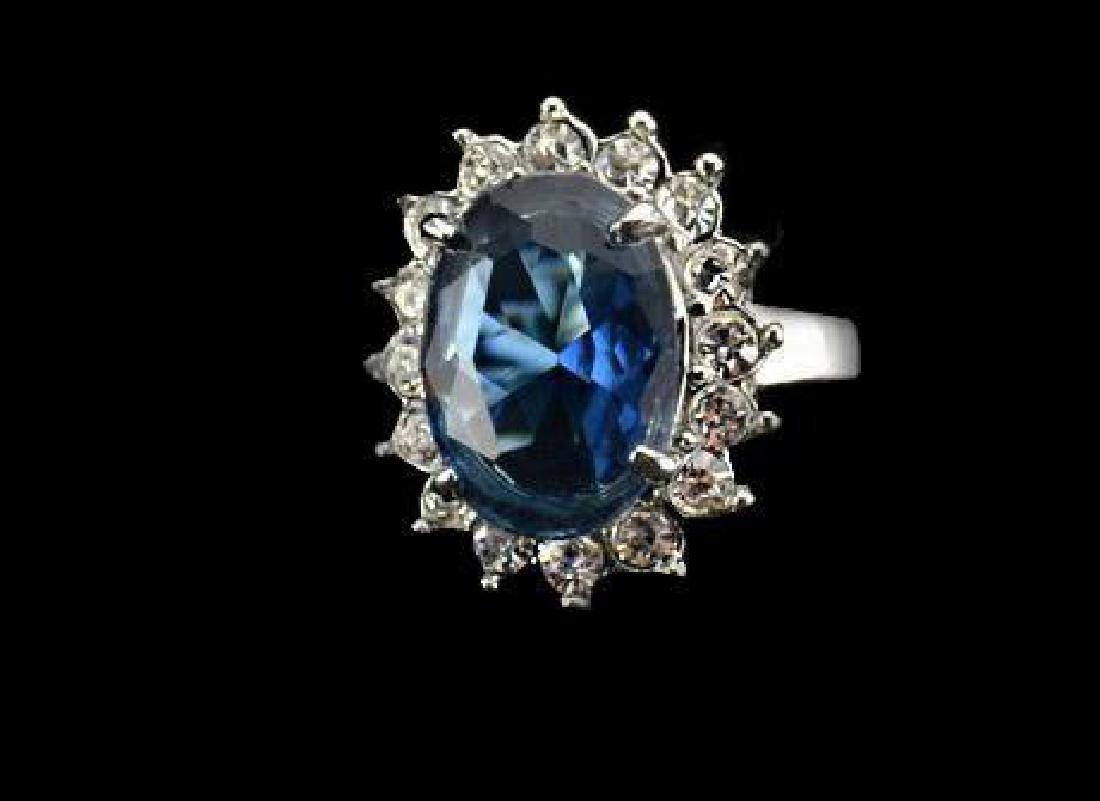 Princess Diana Style Blue Crystal Cruise Ring