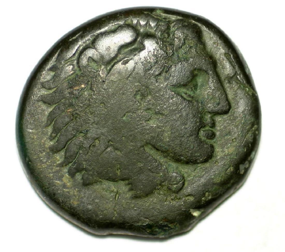 Greek Bronze Coin Alexander The Great Lionskin Bow Club