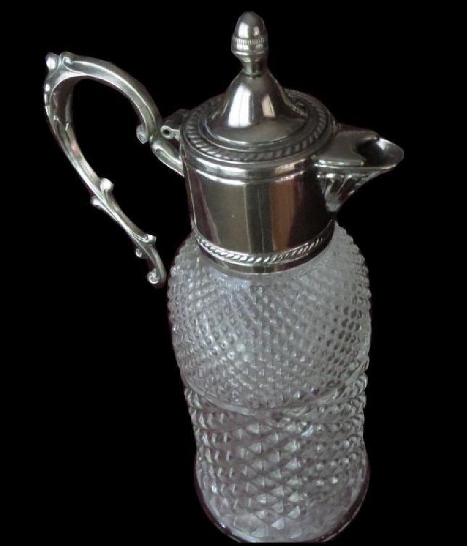 Late 19thc Diamond Pressed Glass Pitcher