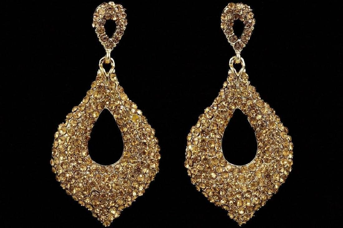 18K Gold Plated GP Golden Crystal Rhinestone Drop