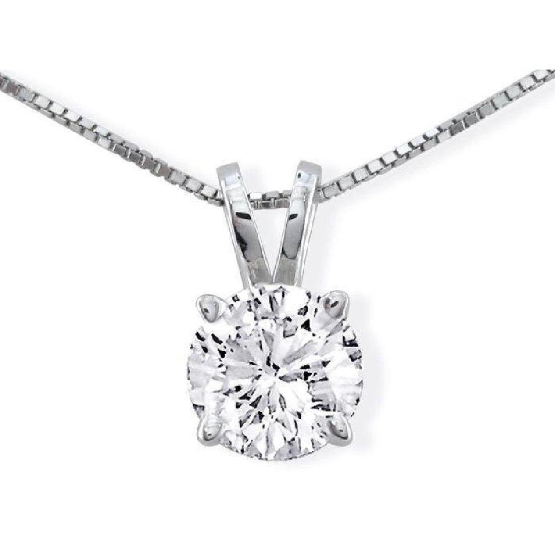 1.13ct Round Diamond Solitaire 14kt Gold Necklace
