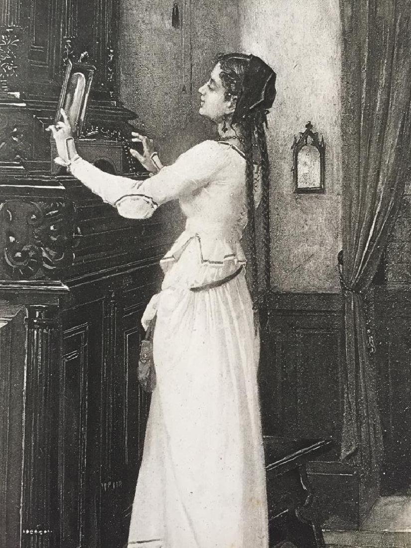 19thc Photogravure Print, Marguerite Tempted