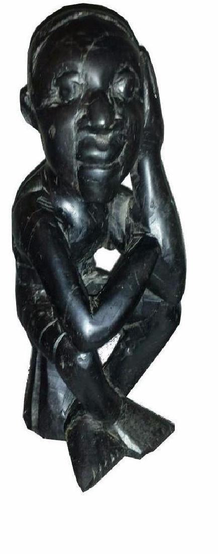 Wood Carved Sculpture Thinking Man