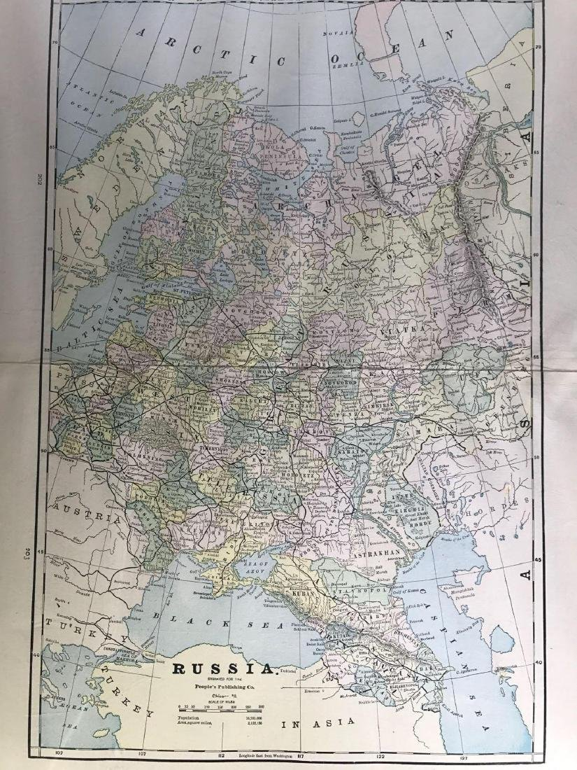 Early color map of Russia (Eastern) by the People's
