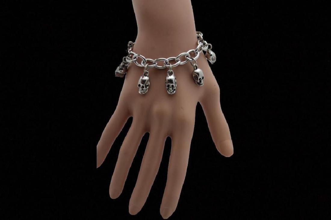 Silver Bracelet Fashion Jewelry  Dangle Skull Charm