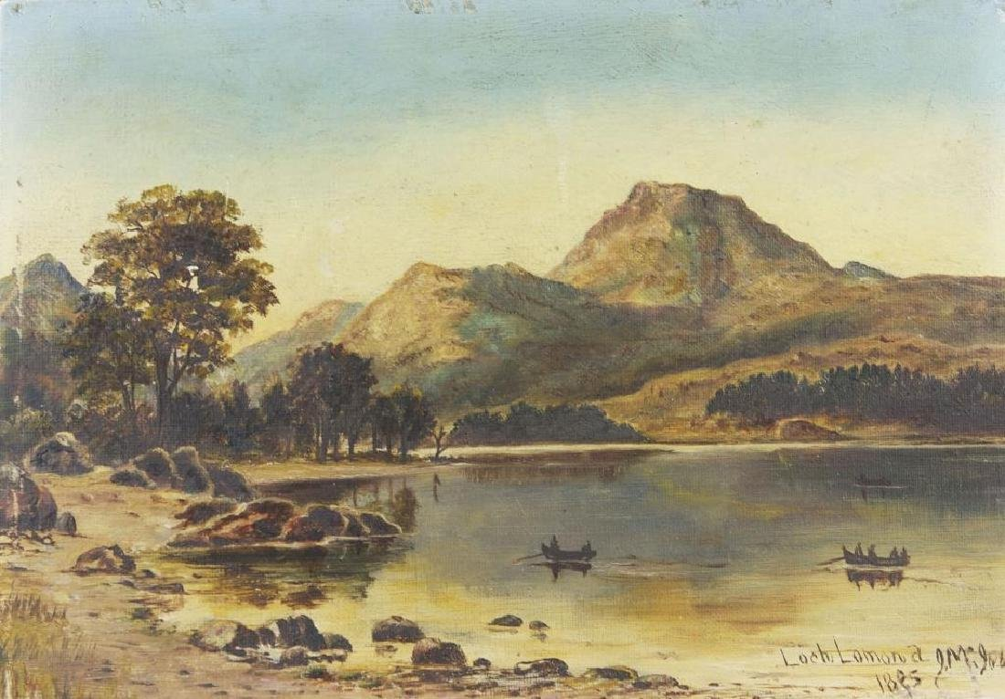 c1885 Scottish Landscape Loch Lomond Oil Painting