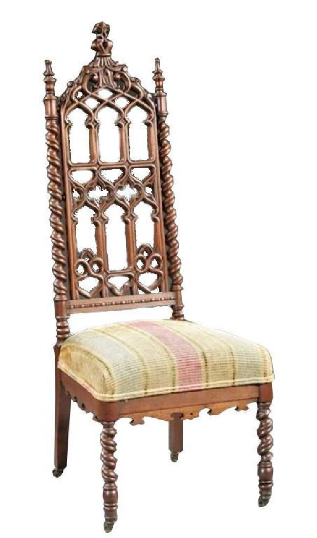 19thc American Gothic Revival Walnut Chair