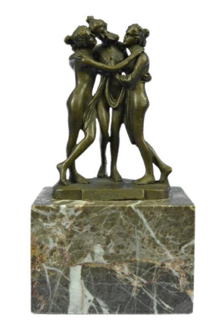 Signed Antonia Canova 3 Graces Bronze Sculpture Statue