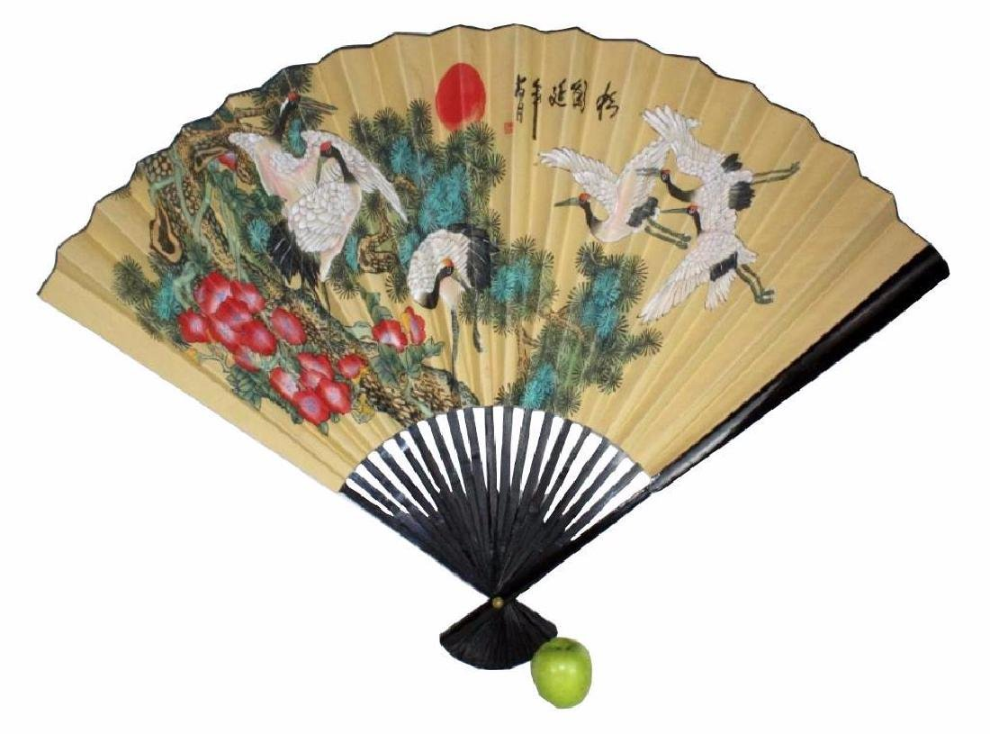 Chinese Signed, Hand-painted  Cranes Fan