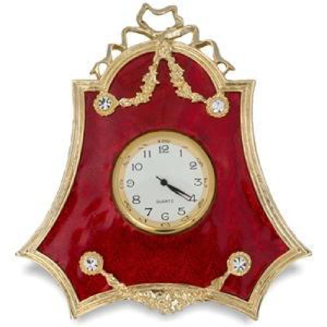 "Faberge Inspired 4"" Faberge Red Enameled Guilloche"