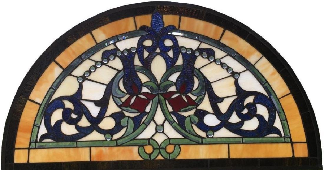 Half Round Tiffany Style Stained Glass Window Beveled - 9