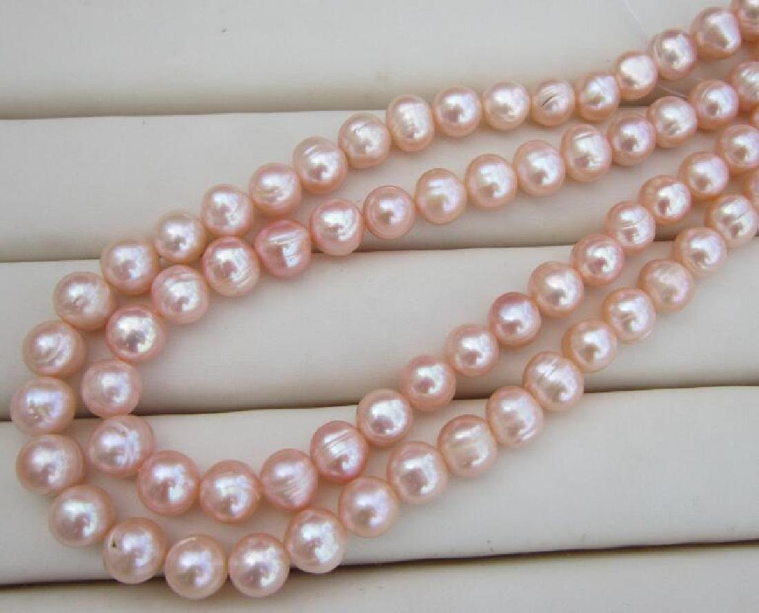 Aaa 10-11mm Perfect South Sea Genuine Gold Pink Pearl - 2