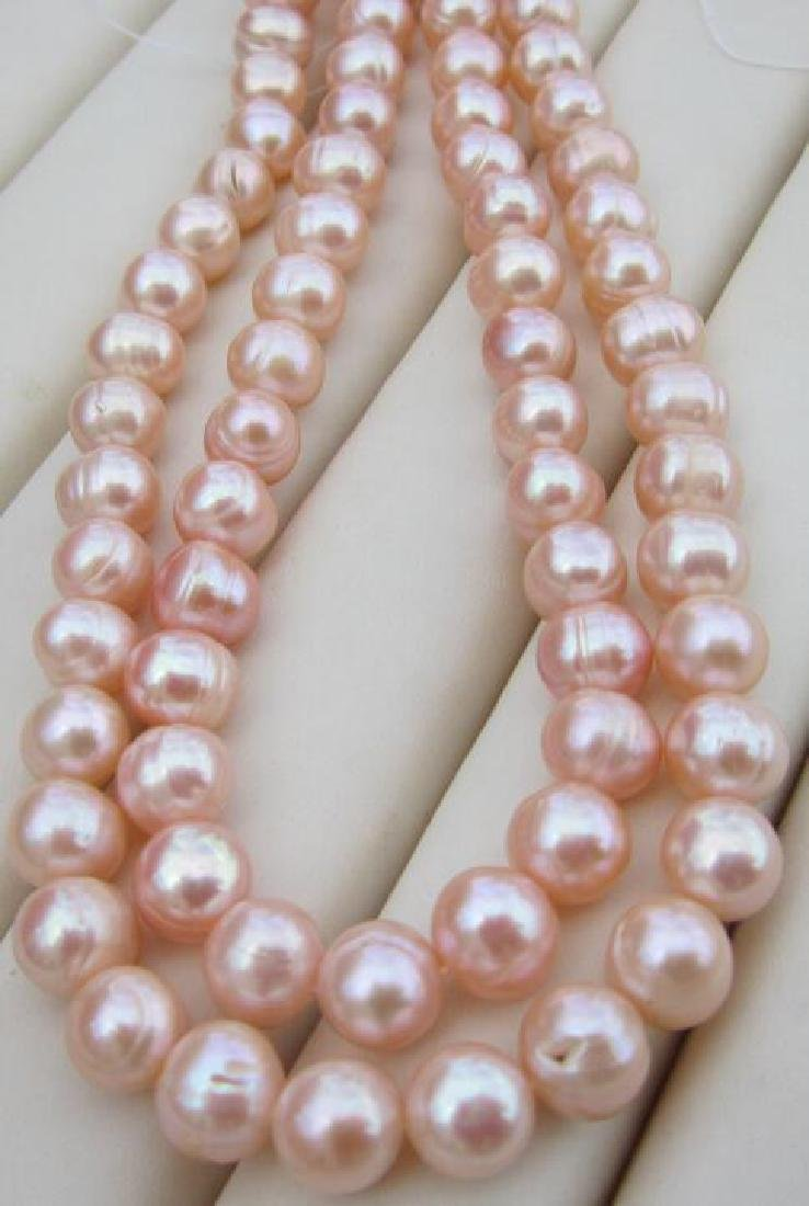 Aaa 10-11mm Perfect South Sea Genuine Gold Pink Pearl - 3