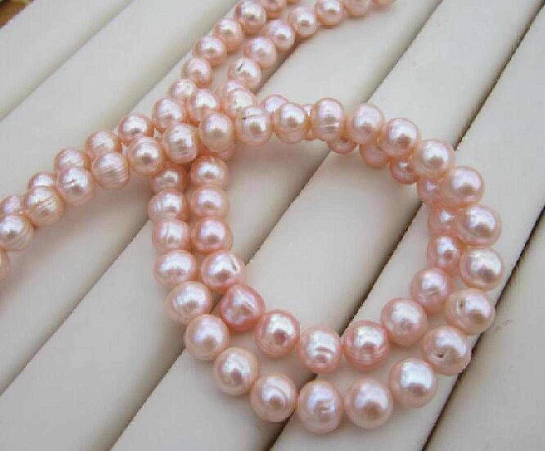 Aaa 10-11mm Perfect South Sea Genuine Gold Pink Pearl - 4