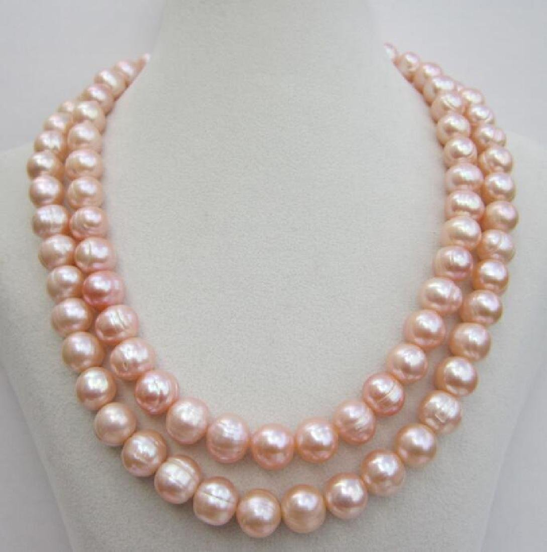 Aaa 10-11mm Perfect South Sea Genuine Gold Pink Pearl - 5