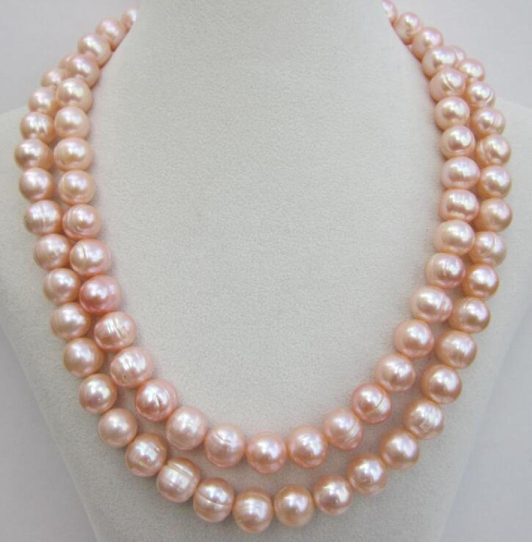 Aaa 10-11mm Perfect South Sea Genuine Gold Pink Pearl - 7
