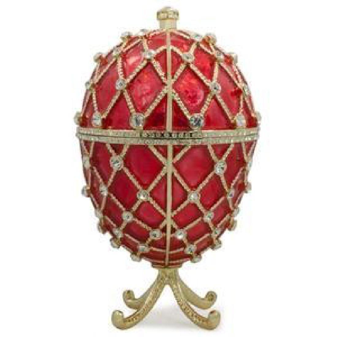 """7"""" Royal Trellis on Red Enamel Jeweled Faberge Inspired"""