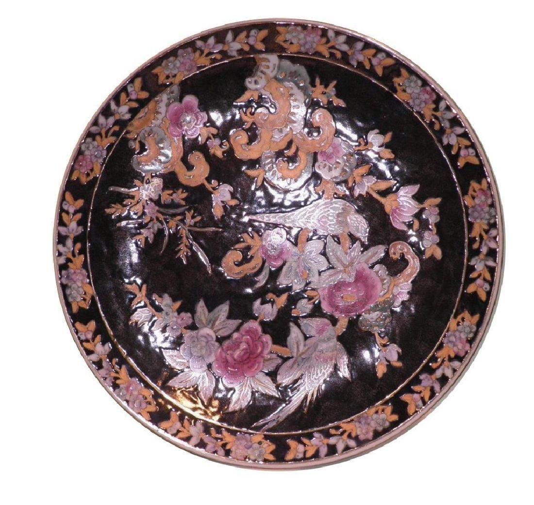 Vintage Oriental Charger Birds Flowers Vines black gold