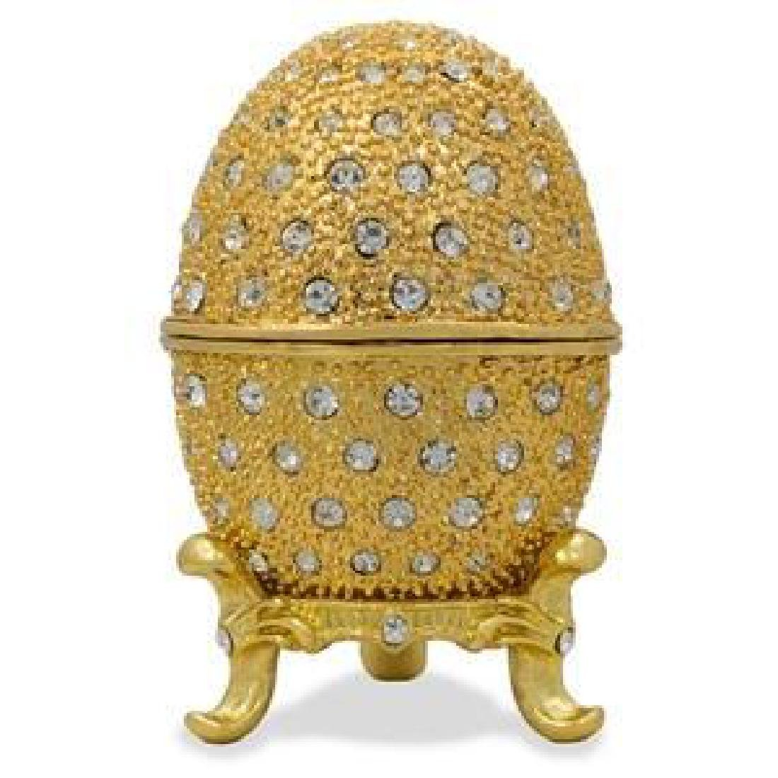Faberge Inspired Golden Crystals Russian Trinket Box