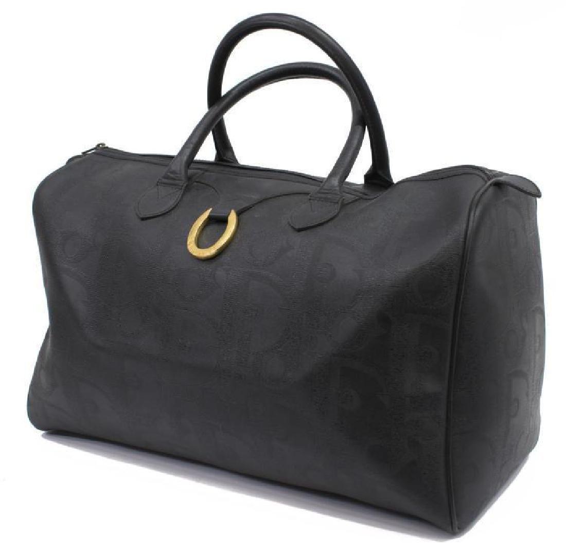 Vintage Dior Black Monogram Boston Travel Bag