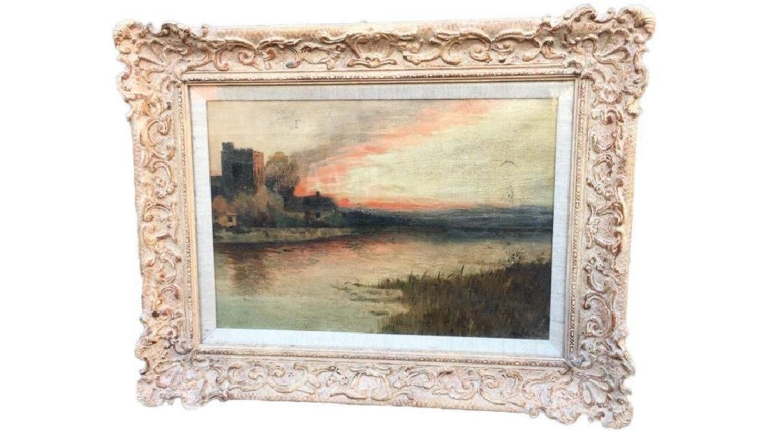 Antique Large Oil On Canvas In Gold Gilt Frame, Signed