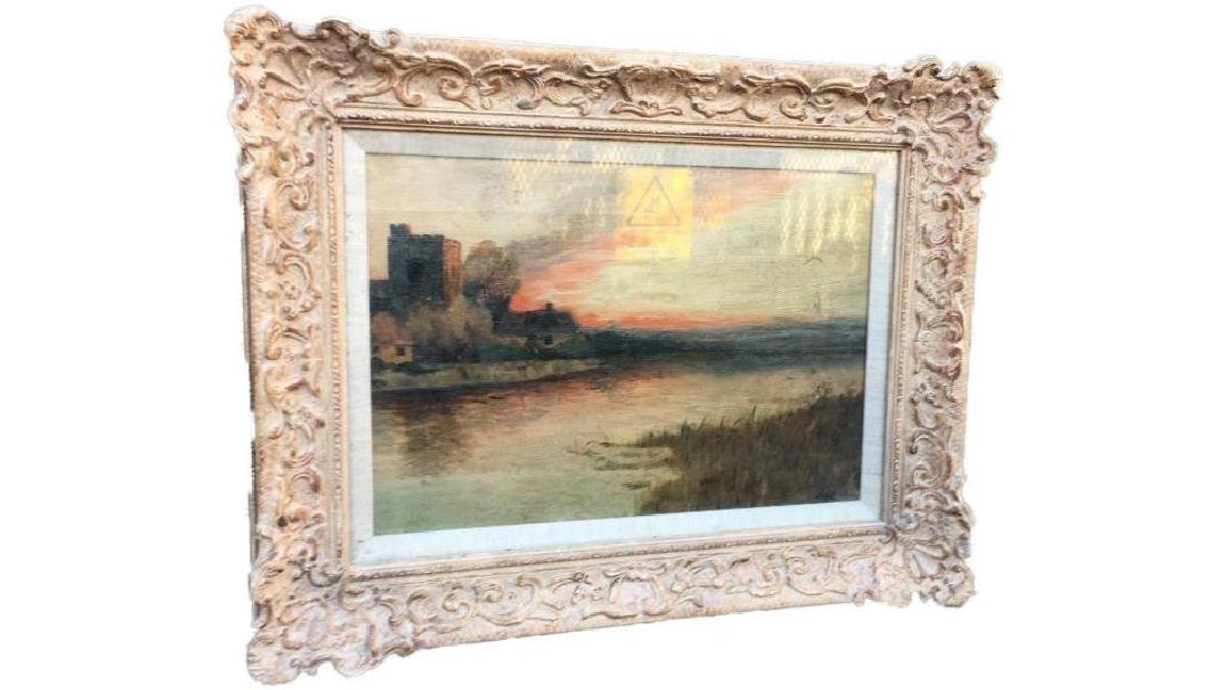Antique Large Oil On Canvas In Gold Gilt Frame, Signed - 3