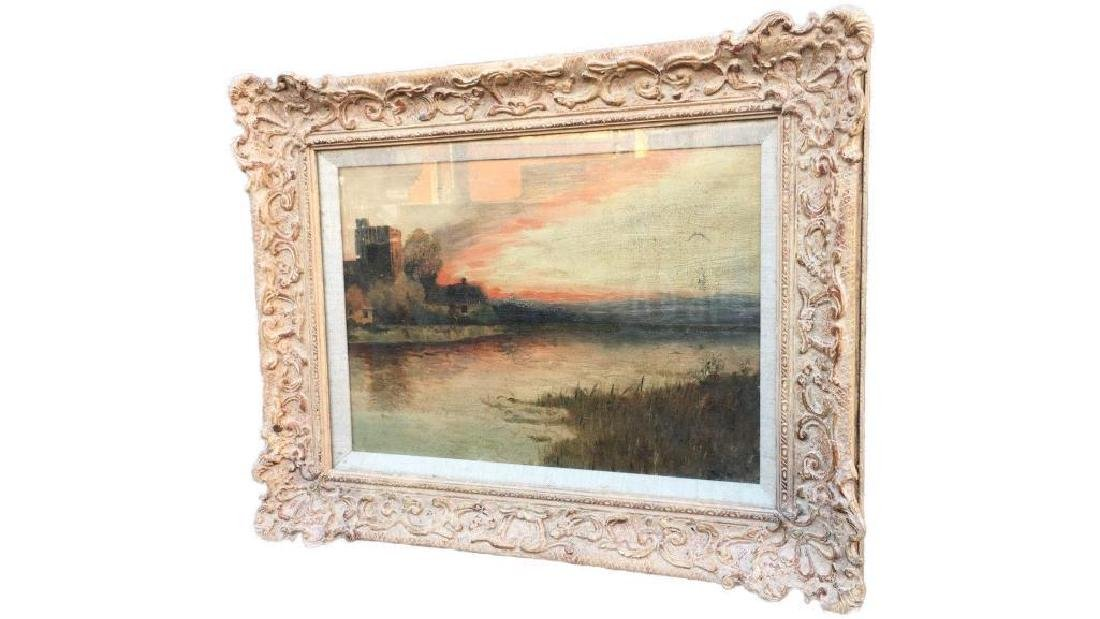 Antique Large Oil On Canvas In Gold Gilt Frame, Signed - 4