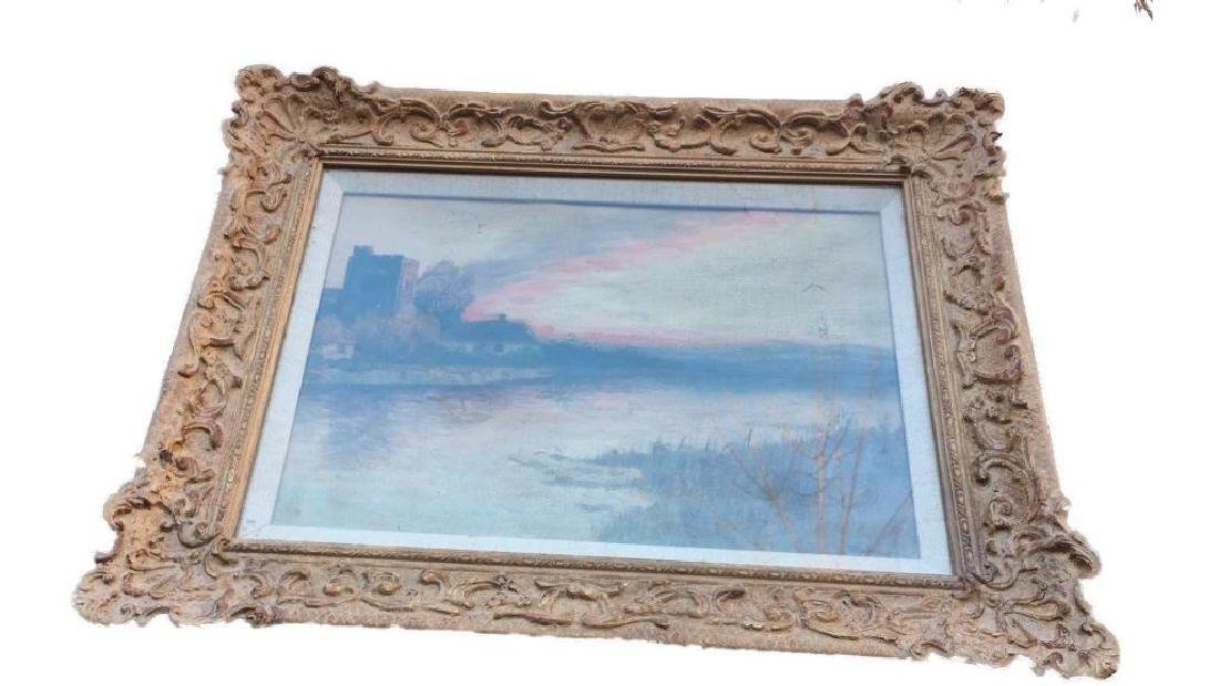 Antique Large Oil On Canvas In Gold Gilt Frame, Signed - 5