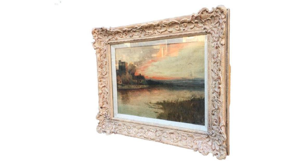 Antique Large Oil On Canvas In Gold Gilt Frame, Signed - 9