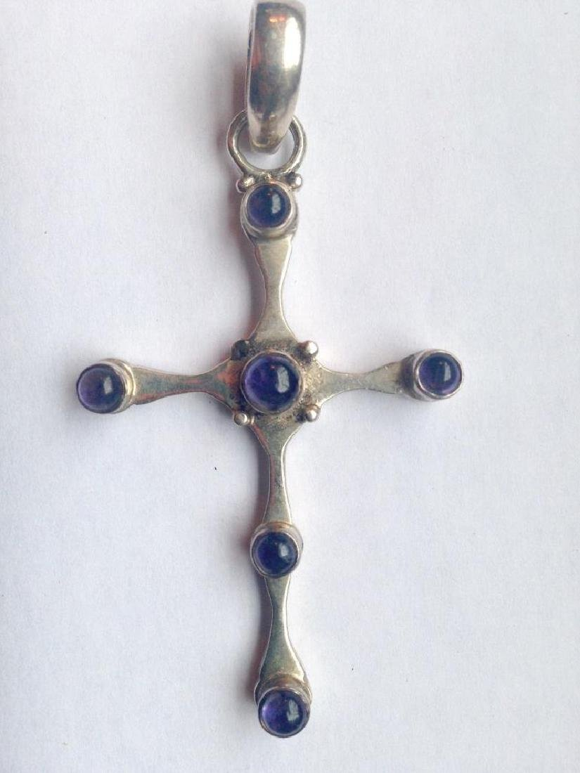 LG Vintage Medieval Style Cross Crucifix Sterling - 7