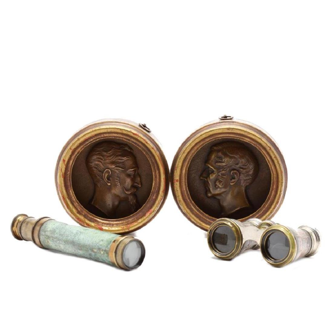 Antique Opera Glasses, Telescope and Plaques