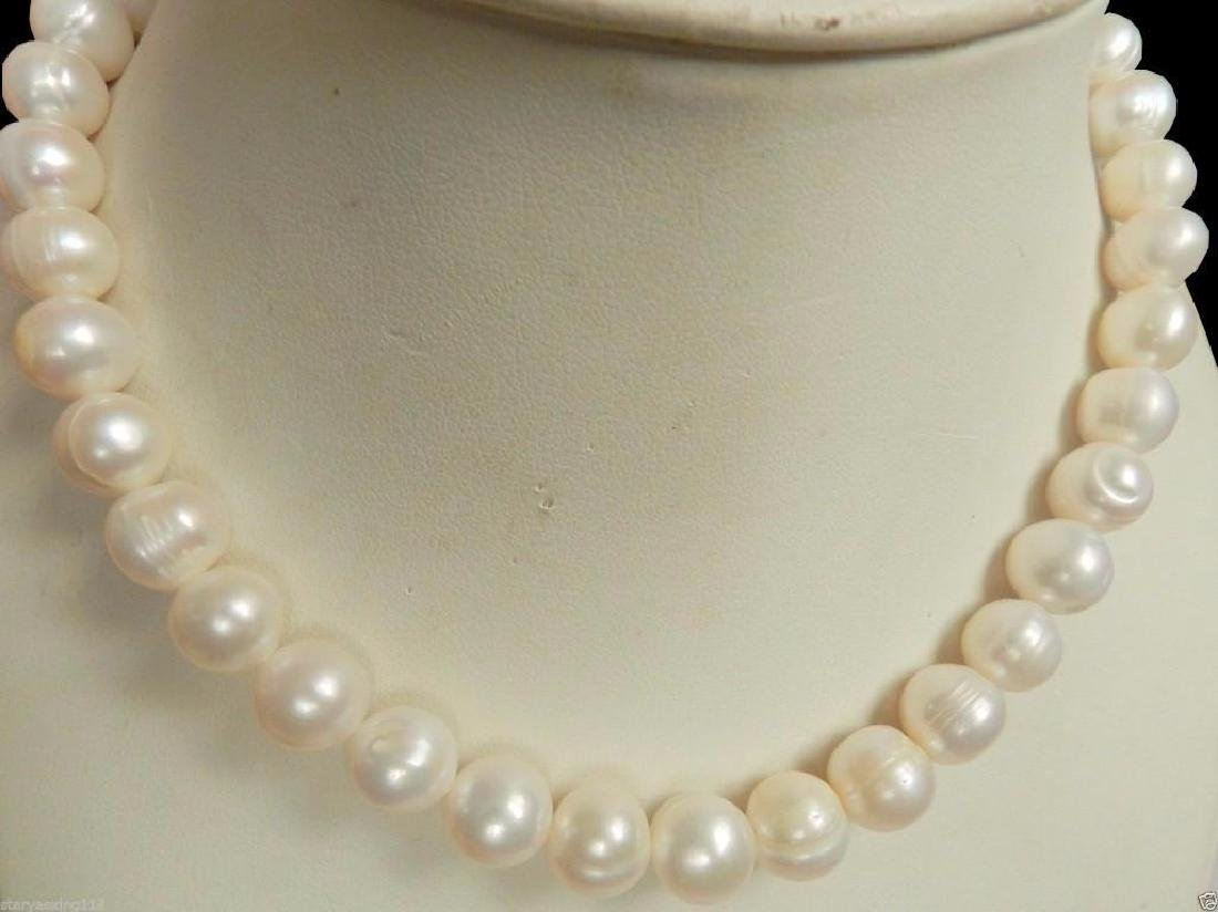 New 14K Gold Clasp 10-11MM White Akoya Pearl Necklace - 3