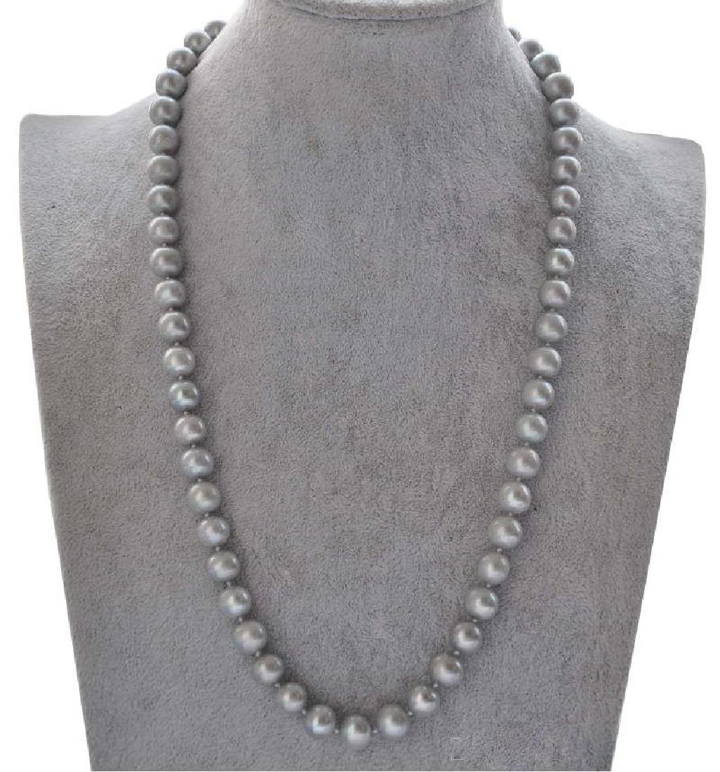 21''aaa++ 9-10mm Natural Tahitian Gray Pearl Necklace