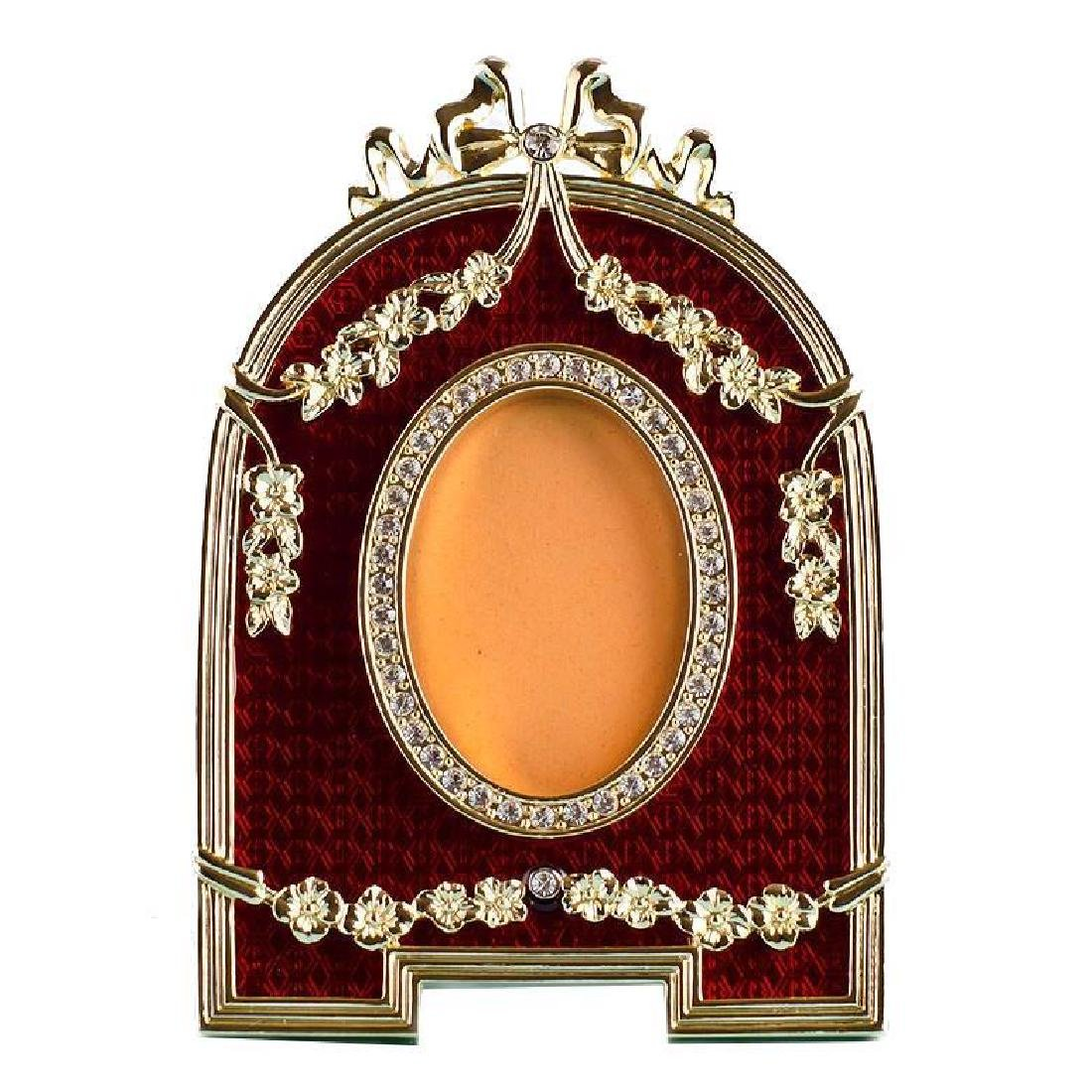 Red Enameled Semicircular Russian Royal Picture Frame
