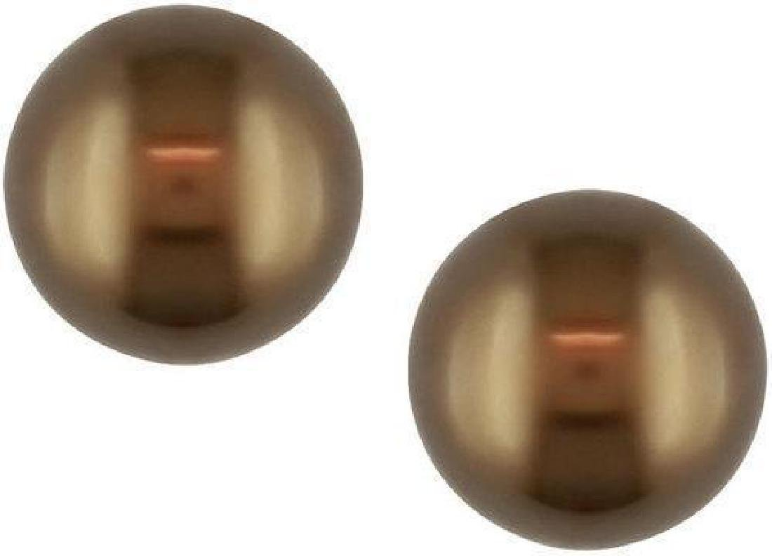 Brown Tahitian Pearl 14kt Gold Stud Earrings