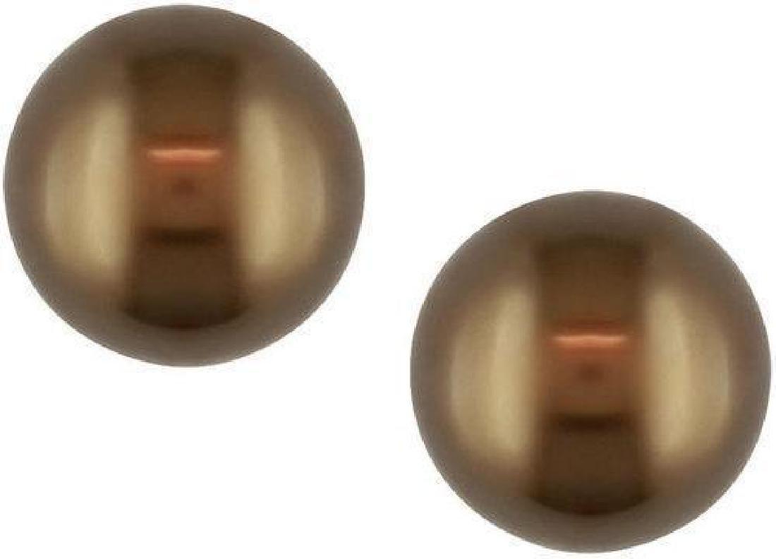 Brown Tahitian Pearl 14kt Gold Stud Earrings