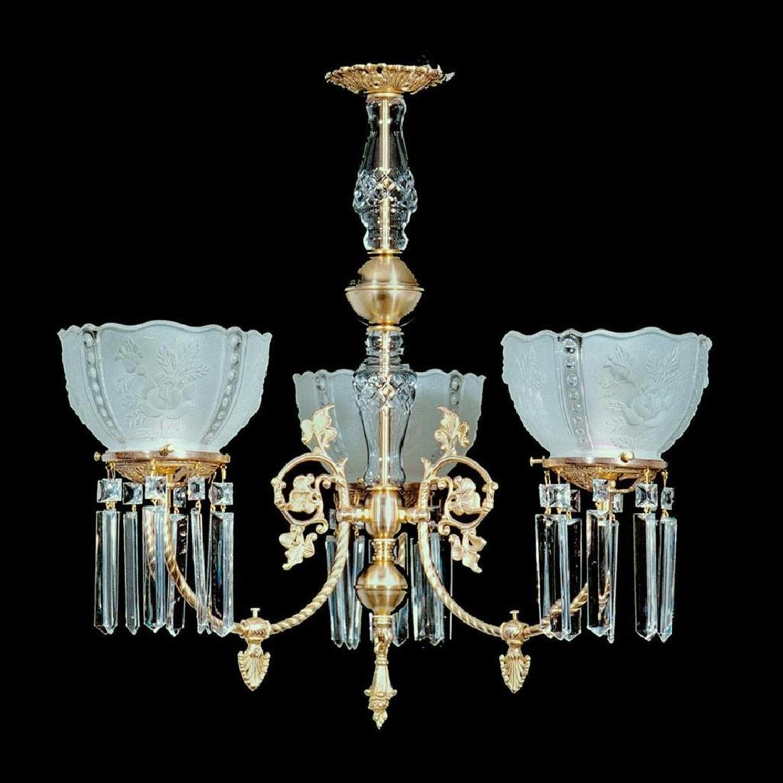 """3 Light Brass and Crystal Victorian Chandelier - 25"""" x"""
