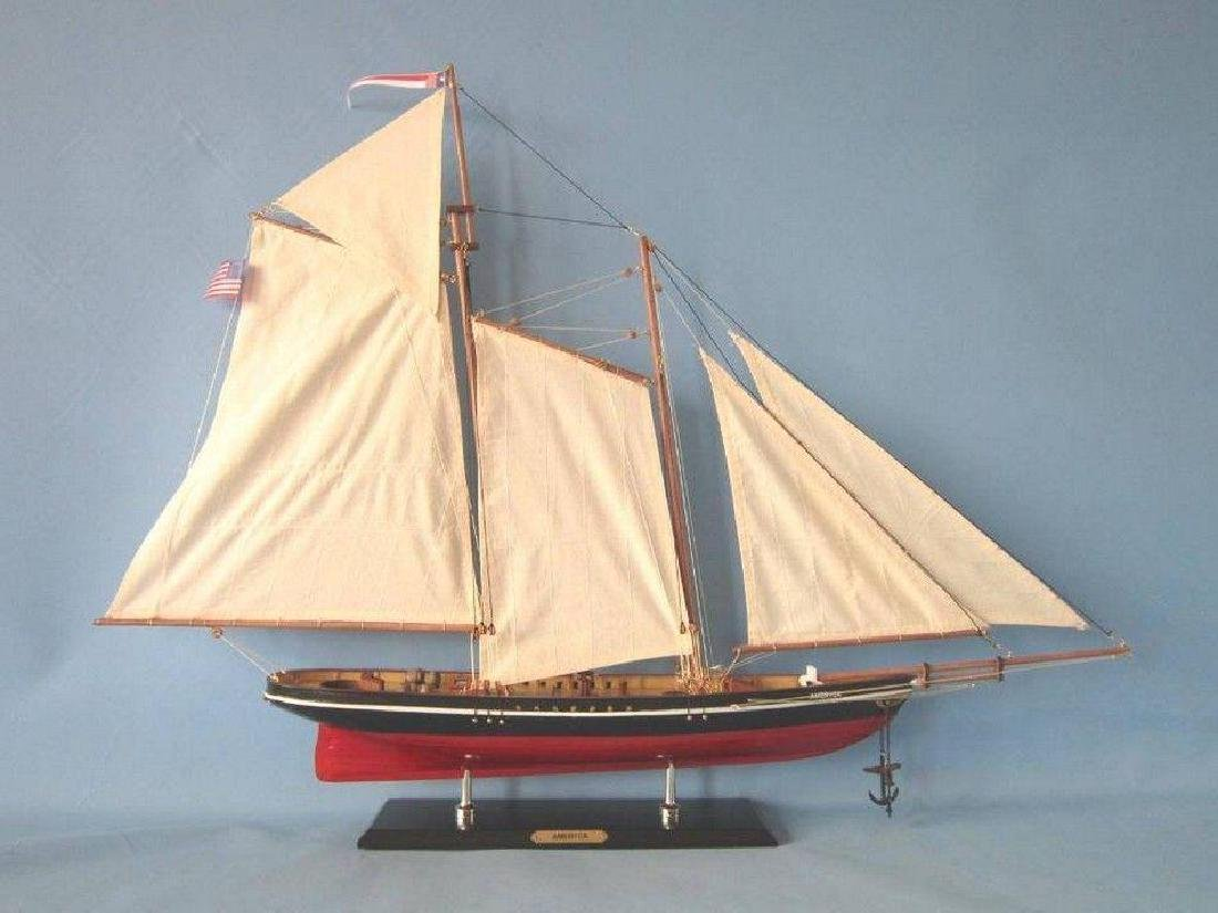 "Wooden America Limited Model Sailboat 35"" - 6"