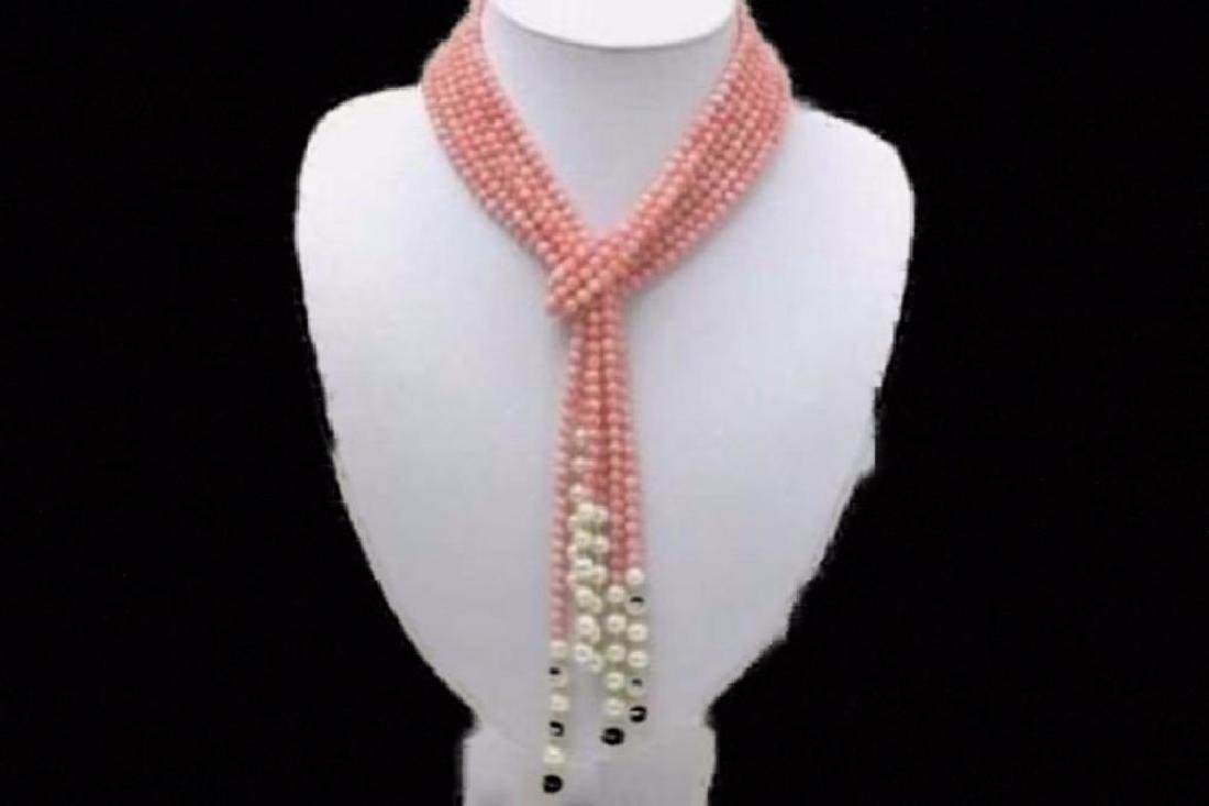 Natural 3 Rows 52 inch 4mm Pink Coral & 7-8mm