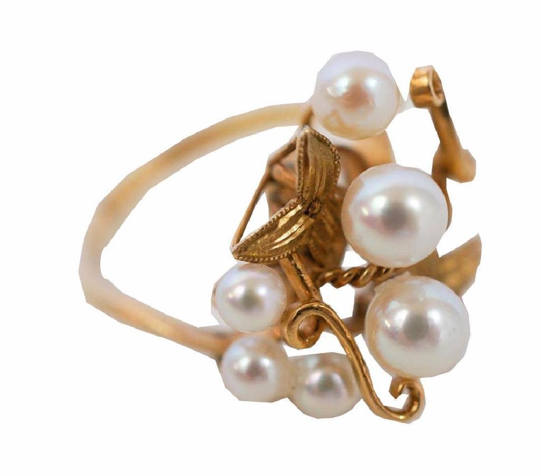 18k Yellow Gold Pearl Cluster Ring - 3
