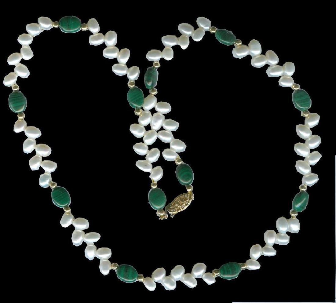 AAA Pearl & Gen. Malachite Vine Necklace w/14k GF beads